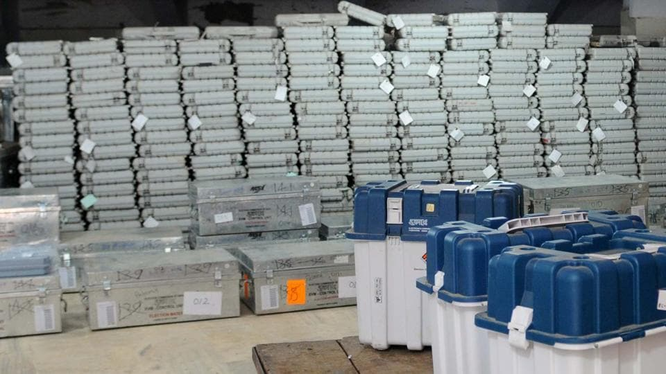 EVM and VVPAT machines stored in a strong room.