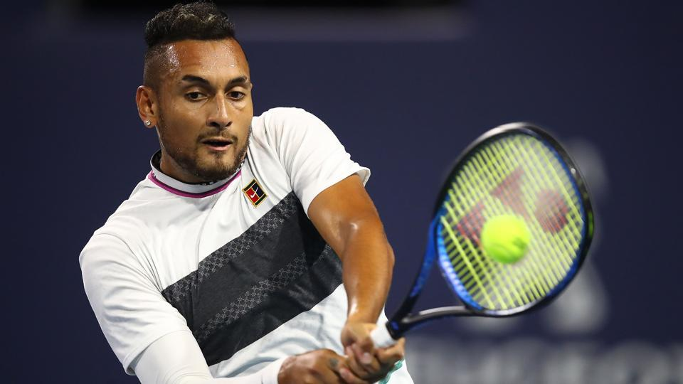 Nick Kyrgios of Australia in action against Dusan Lajovic of Serbia.