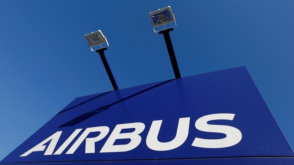 The Airbus logo is pictured at Airbus headquarters in Blagnac near Toulouse, France on March 20.