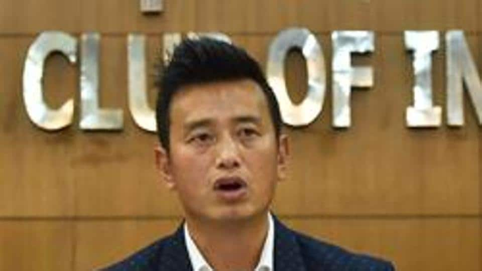 New Delhi: Former Indian football team captain Bhaichung Bhutia speaks during the launch of his political party 'Hamro Sikkim' during a press conference in New Delhi on Thursday.