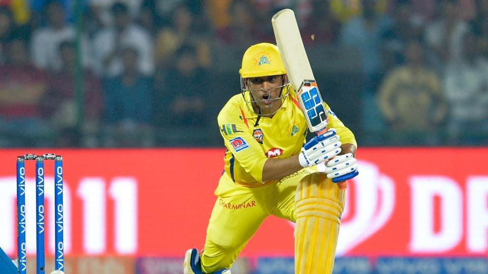 Chennai Super Kings' MS Dhoni reacts as he plays a shot against Delhi Capitals.