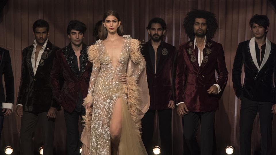 Models display Manish Malhotra's creations at HT India's Most Stylish Awards 2018. (Satish Bate/HT Photo)
