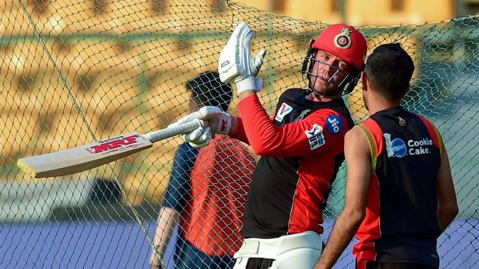 RCB players AB de Villiers and Yuzvendra Chahal during a practice session