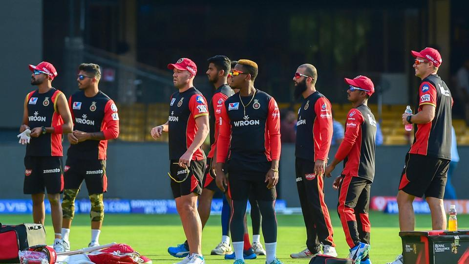 Royal Challengers Bangalore players during a training session ahead of the Indian Premier League 2019 (IPL T20) cricket match between Royal Challengers Bangalore (RCB) and Mumbai Indians (MI)