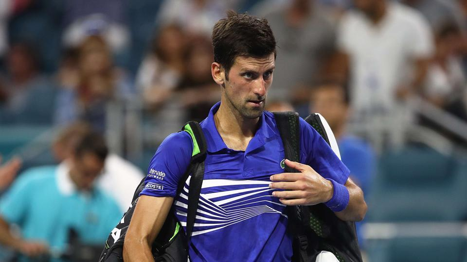 Novak Djokovic after his loss against Roberto Bautista Agut at the Miami Open.