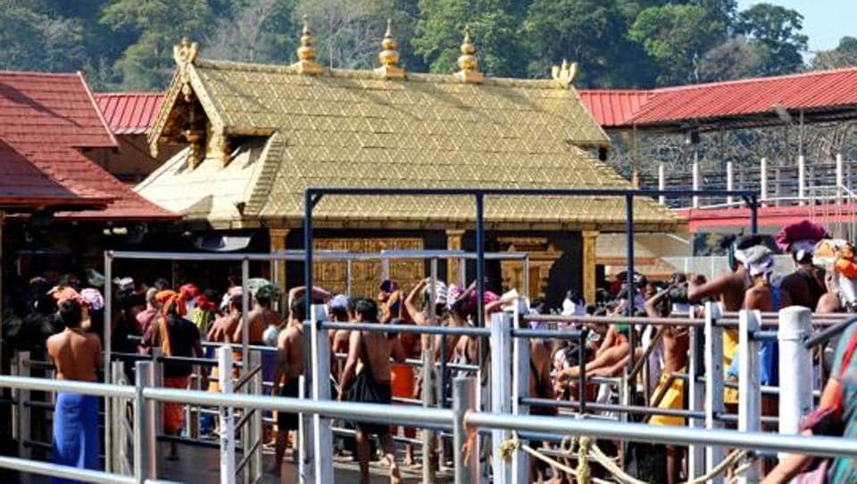 A view of pilgrims at the Sabarimala Sannidhanam or the main temple complex which opened for five-day monthly puja in Pathanamthitta district, Kerala, India on Wednesday, February 13, 2019.