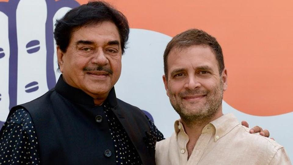 Lok Sabha MP Shatrughan Sinha coming out after meeting with Congress president Rahul Gandhi at his residence in New Delhi on Thursday.