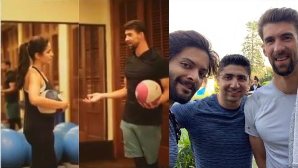 Katrina Kaif and Ali Fazal met Michael Phelps on his visit to India.