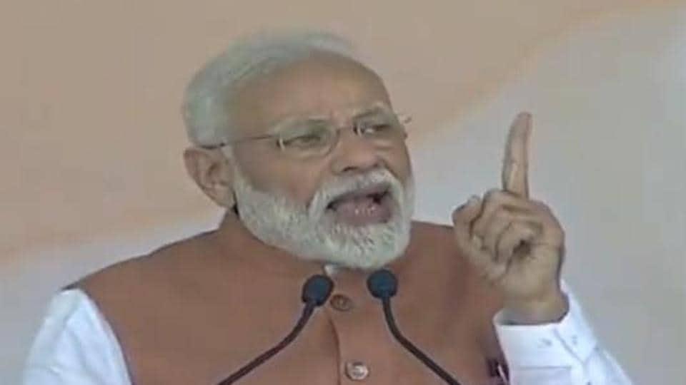 Prime Minister Narendra Modi addresses a rally in Meerut, Uttar Pradesh, on Thursday.