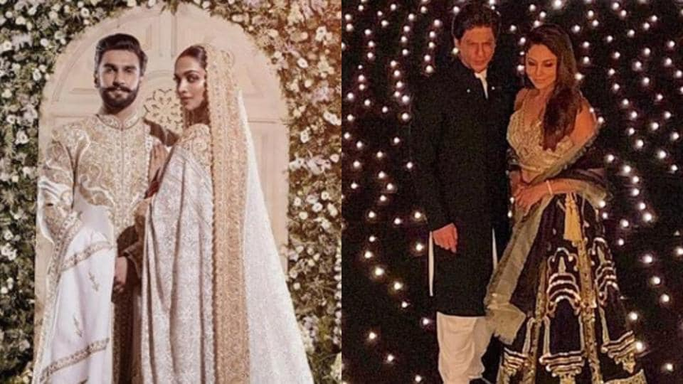Top 5 celeb couples show you exactly how to coordinate wedding looks. See pics