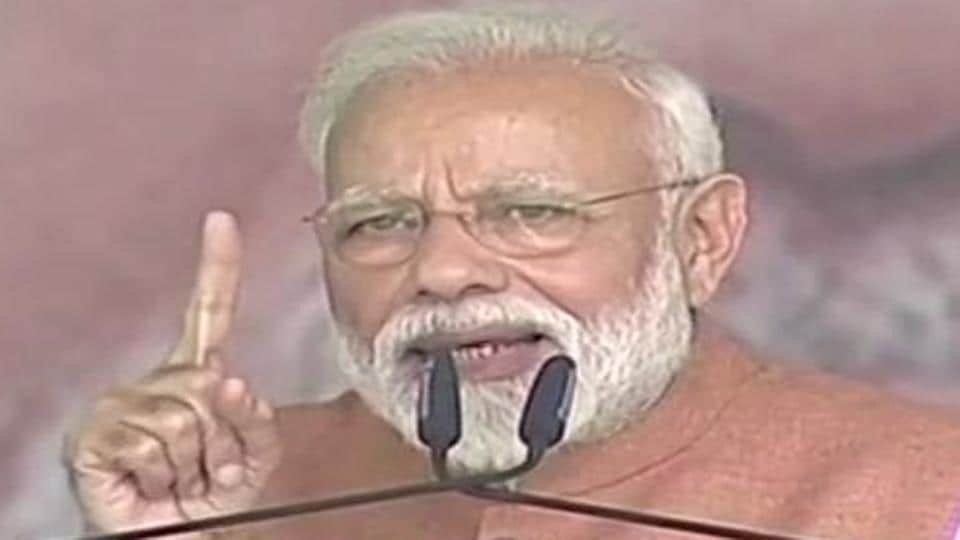 Prime Minister Narendra Modi addressing an election rally at Rudrapur in Uttarakhand on Thursday.