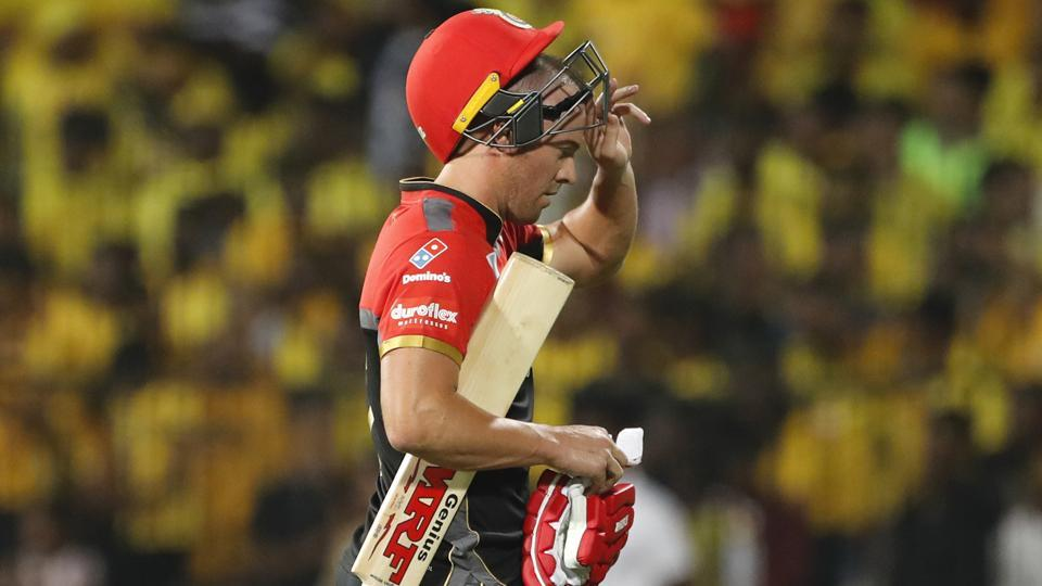 Royal Challengers Bangalore's AB de Villiers leaves the field after being dismissed against Chennai Super Kings.