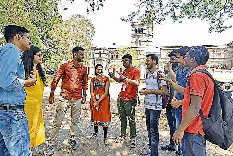 Students of Savitribai Phule Pune University discuss expectations from upcoming government on Thursday.