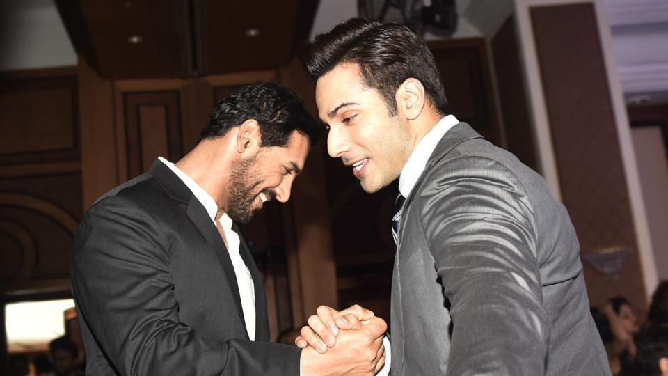 Dishoom? No, dosti! Here are actors John Abraham and Varun Dhawan giving us all some #brogoals.  (Pratik Chorge/HT Photo)