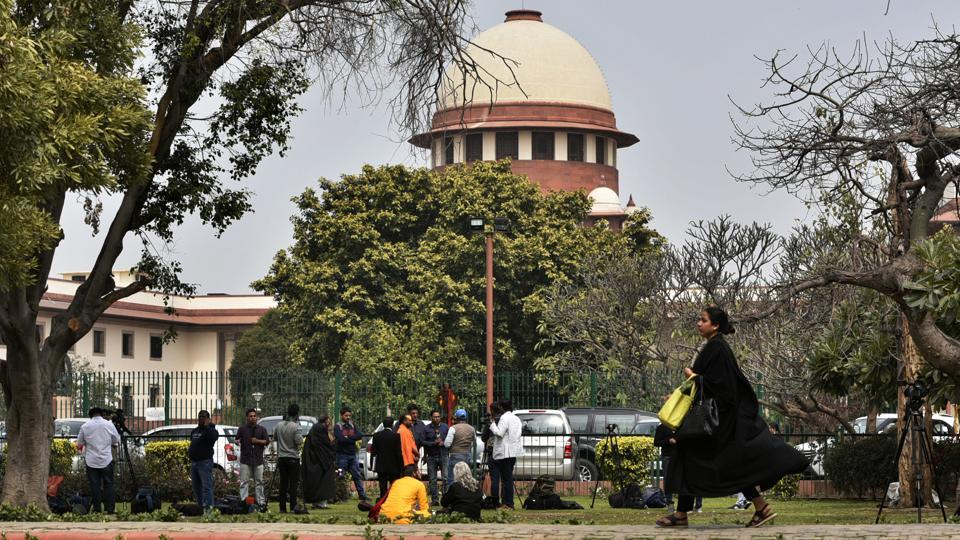 "The Supreme Court on Thursday refused an early hearing on a plea seeking stay on the release of a movie 'Ram ki Janmabhoomi' alleging it would prejudice the mediation process in Ram Janmabhoomi- Babri Masjid case. ""What's the relation between movie and mediation. Parties want to settle it. We are not so pessimistic. No film can come in the way of mediation,"" a Supreme Court bench said. (Biplov Bhuyan / HT Photo)"