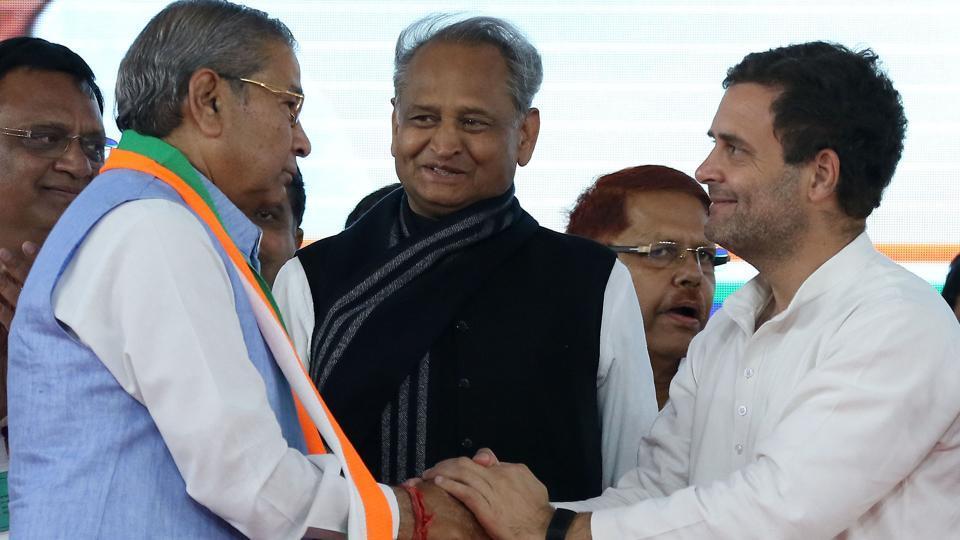 Congress Party President Rahul Gandhi welcoming Ghanshyam Tiwari to Congress, in Jaipur on Tuesday, March 26, 2019.