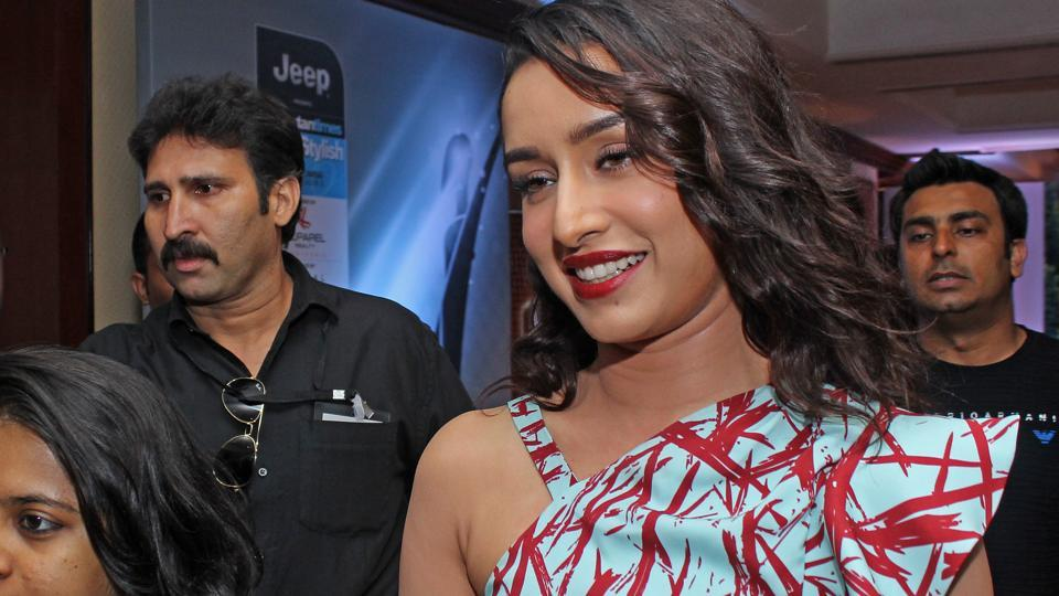 Actor Shraddha Kapoor  looked pretty in a one-shoulder dress. That ink-splatter pattern gets our vote. (Satyabrata Tripathy/HT Photo)
