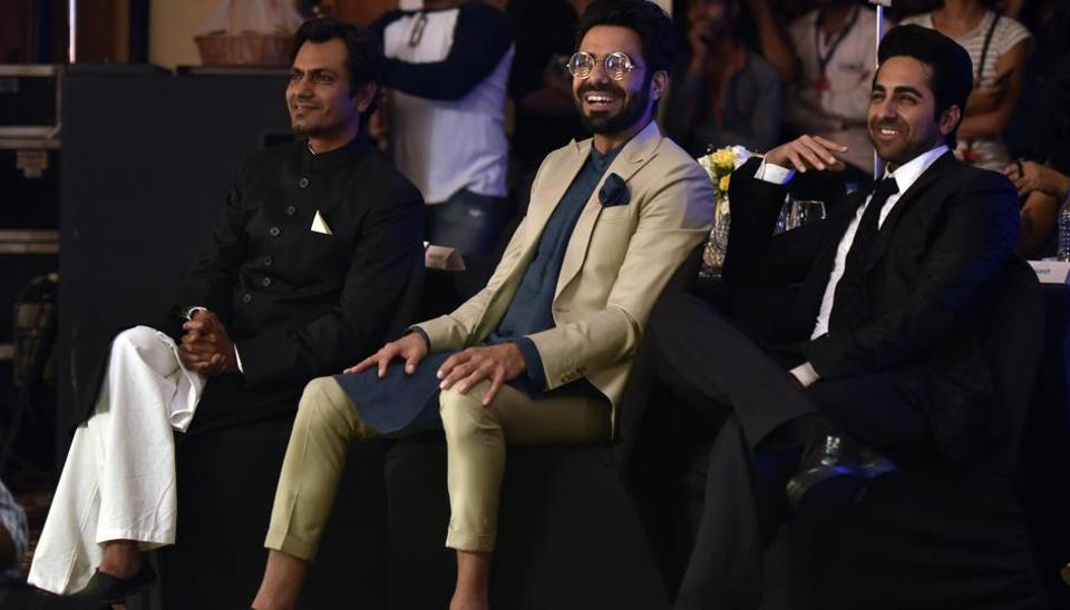 Actors Nawazuddin Siddiqui, Ayushmann Khurrana and Aparshakti Khurana made for a dandy trio at the do. (Anshuman Poyrekar/HT Photo)