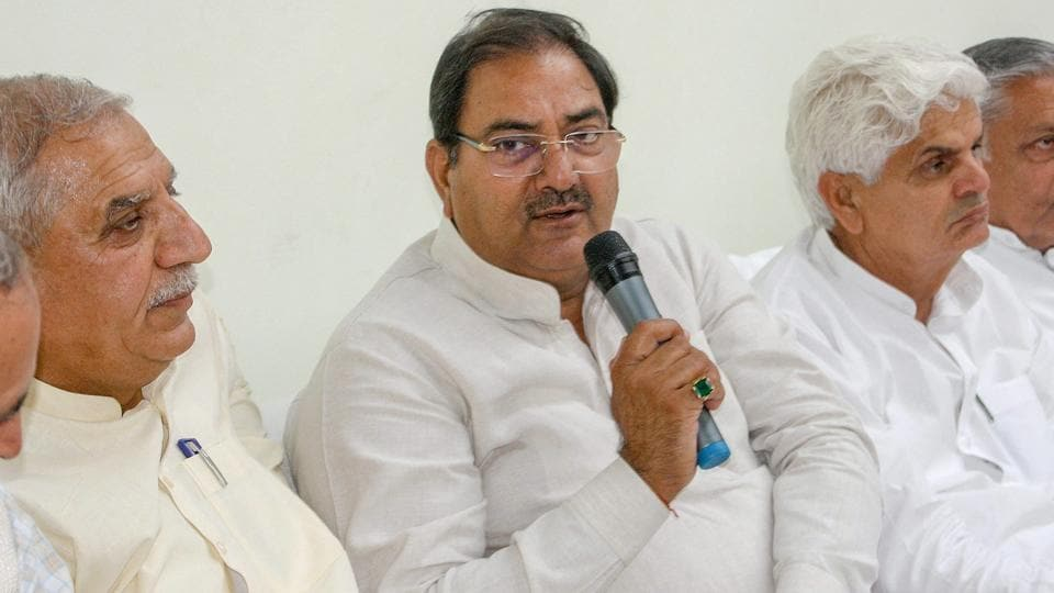 Indian National Lok Dal (INLD) leader Abhay Chautala addresses a press conference, in Rohtak, Wednesday, March 27, 2019.