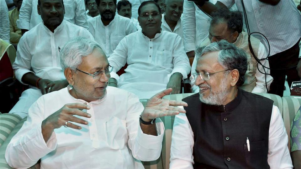 Nitish Kumar with senior BJP leader Sushil Kumar Modi a