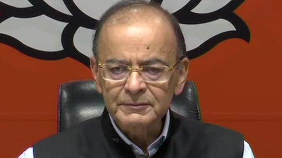 Union minister Arun Jaitley during a press conference on March 29.