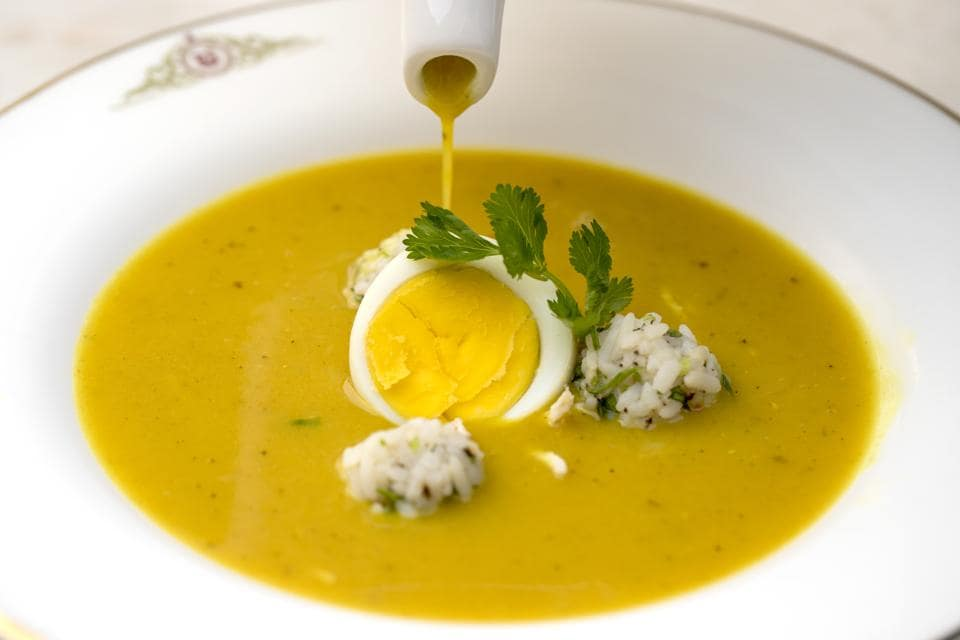 Mulligatawny means 'pepper water', and curry powder is the main ingredient that gives this soup its flavour
