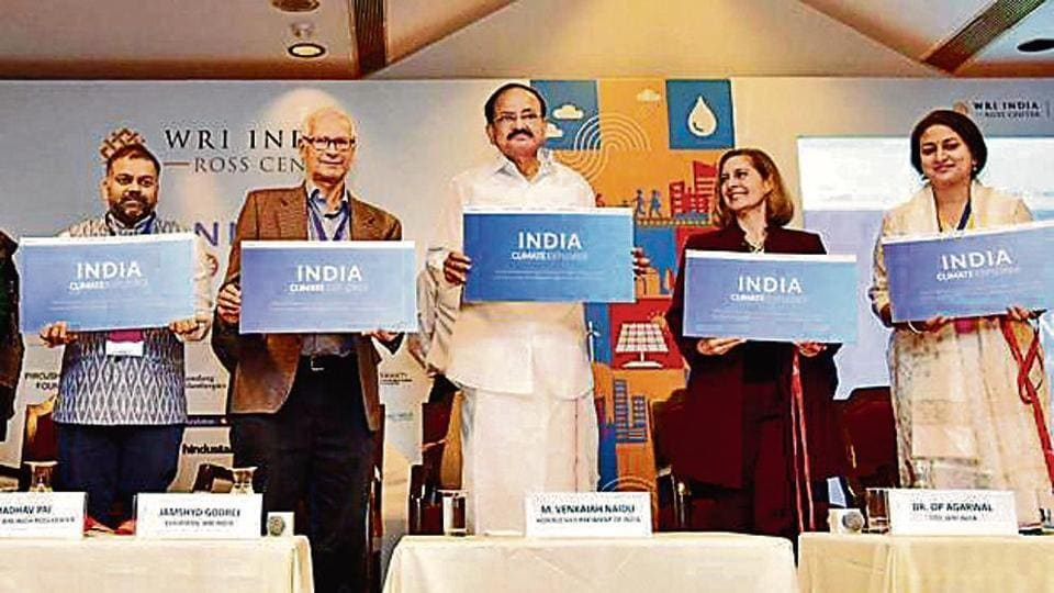 Vice-president Venkaiah Naidu releases a booklet on Climate Explorer on Day 1 of 'Connect Karo', organised by WRI India, on Thursday.