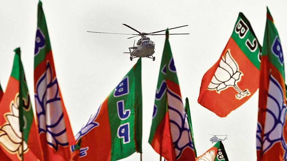 Prime Minister Narendra Modi arrives in an Indian Air Force helicopter to address an election campaign rally in Meerut in Uttar Pradesh on Thursday.