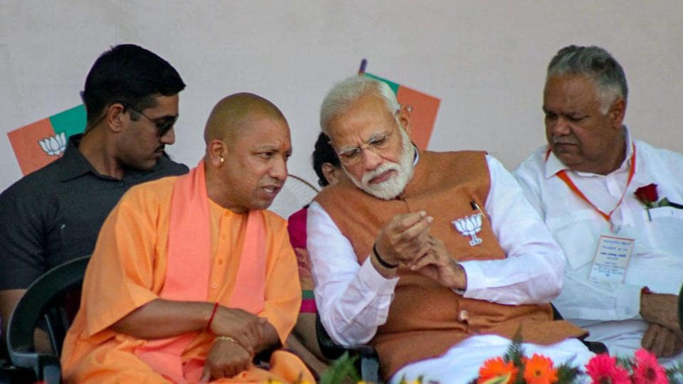 Prime Minister Narendra Modi and Uttar Pradesh Chief Minister Yogi Adityanath during a rally