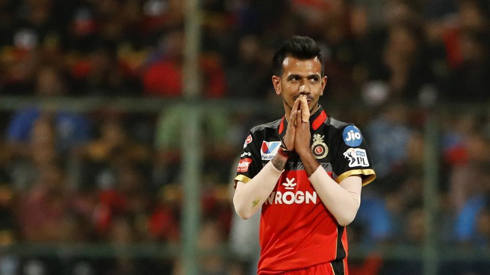 Royal Challengers Bangalore's Yuzvendra Chahal reacts during their match against Mumbai Indians.