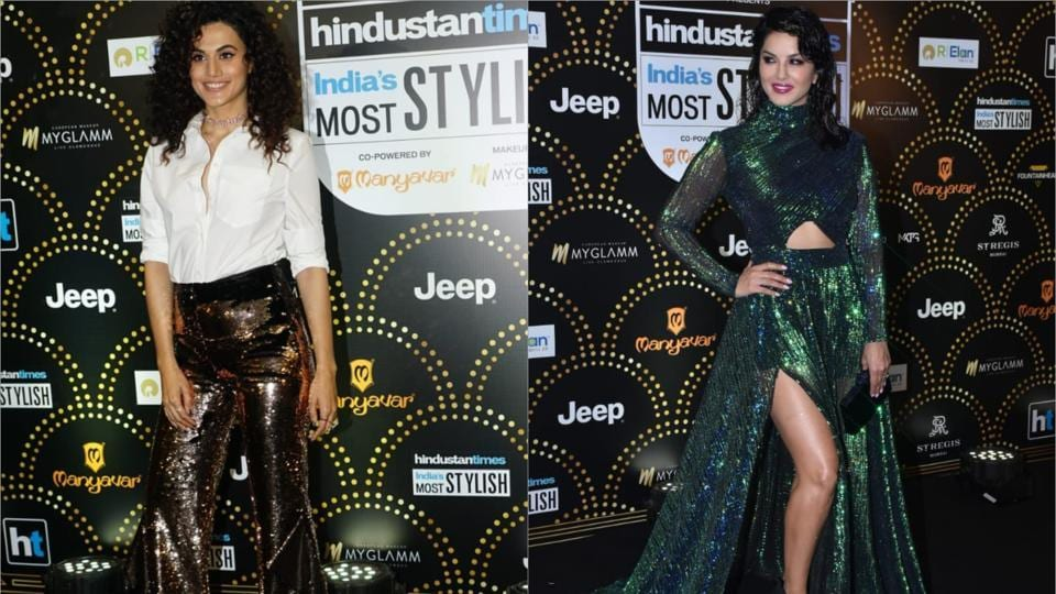 Sunny Leone, Taapsee Pannu at HT India's Most Stylish 2019 Black Carpet (varinder chawla)
