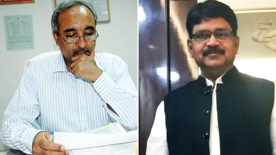 Former IAS officer Vijay Shankar Pandey (left) is ready to contest the Lok Sabha polls from Ayodhya as his own Lok Gathbandhan Party candidate , while Ram Bahadur (right), another former civil servant is trying his luck from the Gonda LS seat.