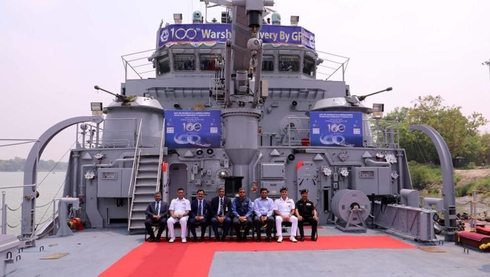 The handover ceremony of the India's Navy's latest warship  at  Kolkata.