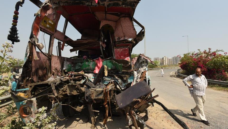 The mangled remains of the sleeper bus that crashed into a truck on the Yamuna Expressway on Friday, March 29, 2019.
