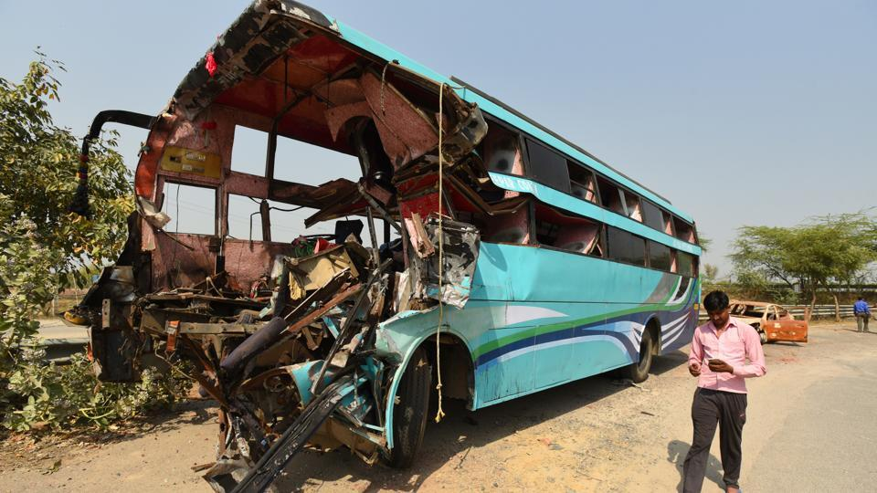 Wreckage of a bus that crashed into a stationary truck, killing eight  people on Yamuna Expressway in Rabupura, in Greater Noida, , on Friday, March 29, 2019.