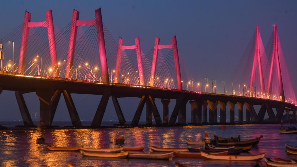 The Bandra Worli Sea link is lit up in purple in support of raising awareness for epilepsy in Mumbai, Maharashtra. (Shahsi S Kashyap / HT Photo)