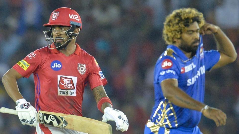 KL Rahul and Lasith Malinga (R)
