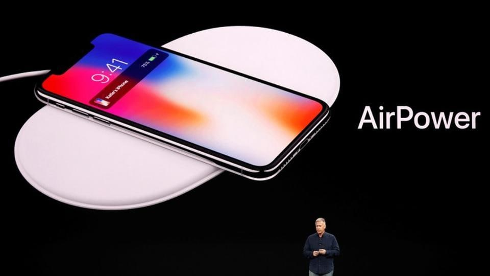 Apple Senior Vice President of Worldwide Marketing, Phil Schiller, shows the AirPower wireless charging mat during a launch event in Cupertino, California, U.S. September 12, 2017.