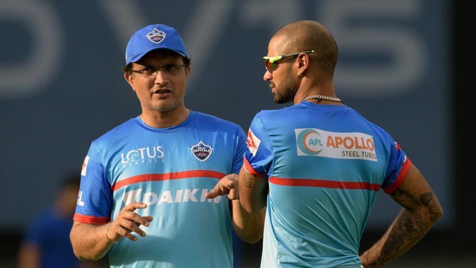 Delhi Capitals advisor Sourav Ganguly at work with Shikhar Dhawan.