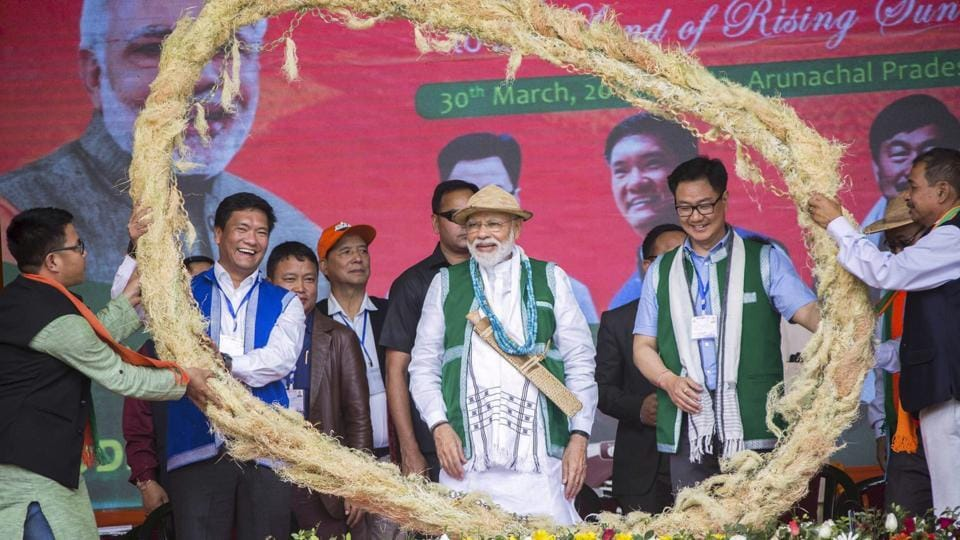 West Siang: Prime Minister Narendra Modi being felicitated by party supporters during an election rally, ahead of Lok Sabha polls, at Aalo, in West Siang district, Saturday, March 30, 2019.