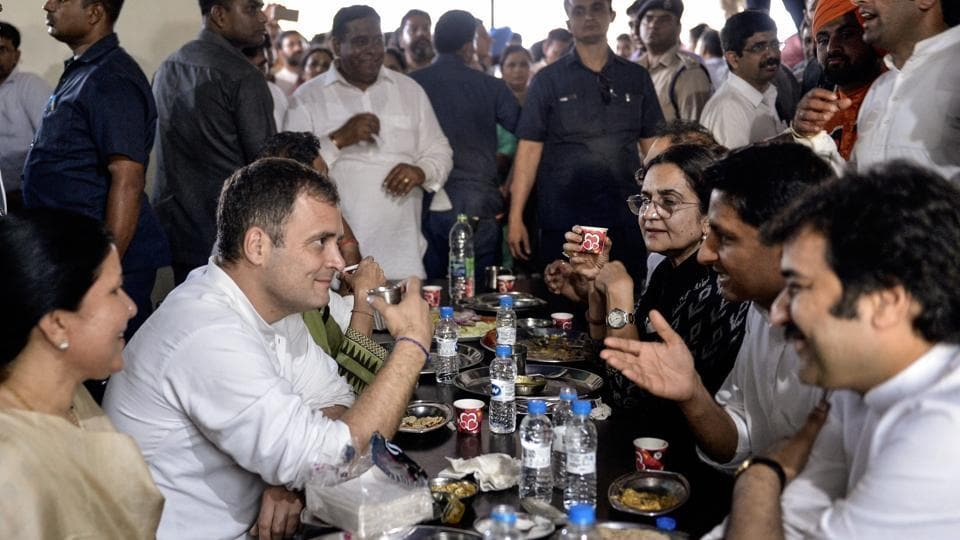 Congress President Rahul Gandhi takes a lunch break after addressing party's 'Parivartan Yatra', an election campaign ahead of Lok Sabha polls, in Karnal, Friday, March 29, 2019.