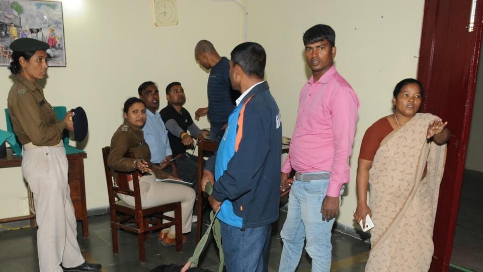 In this file photo, police with sniffer dog investigating at Mokama shelter home from where seven minor girls, who were witnesses in the Muzaffarpur shelter home case, disappeared from home in Mokama Bihar