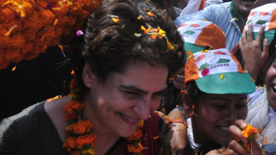 Congress general secretary for eastern Uttar Pradesh Priyanka Gandhi during her election campaign at Kumarganj in Ayodhya on Friday.