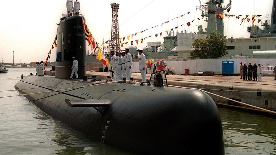 Agosta 90B, Pakistan navy's first indigenous submarine. Officials say 4 of navy's 5 operational units are undergoing major refit.