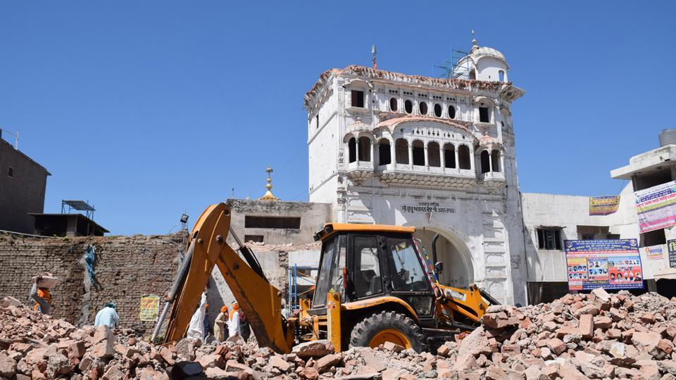 The historic Deori of Darbar Sahib in Tarn Taran after it was demolished on Saturday late night.