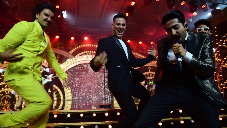 And then he dances some more with Akshay Kumar and Ayushmann Khurrana. (Vijayanand Gupta/HT Photo)