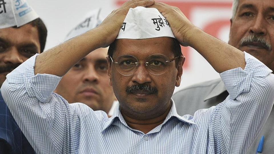 "With chief minister Arvind Kejriwal targeting the Bharatiya Janata Party (BJP) over the issue of full statehood at all his election rallies in the national capital, the BJP has hit back saying Kejriwal himself is the ""greatest enemy"" of the demand. (Photo by Biplov Bhuyan/ Hindustan Times)"