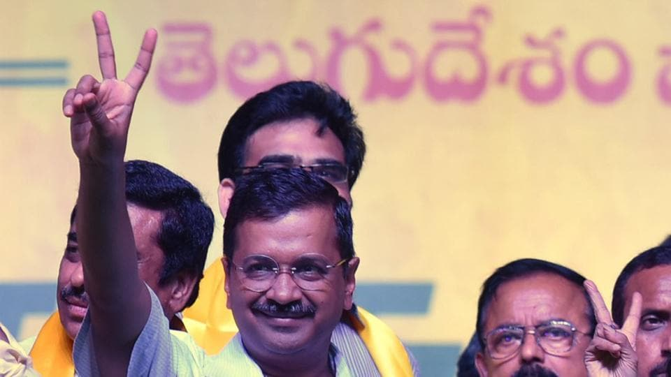 Delhi chief minister Arvind Kejriwal during opposition rally in Visakhapatnam on Sunday.