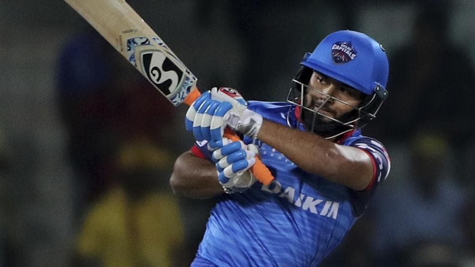 Delhi Capitals player Rishabh Pant plays a shot during an IPL match.