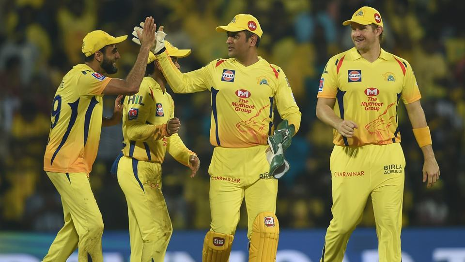 CSK skipper MS Dhoni celebrates his team's victory with teammates